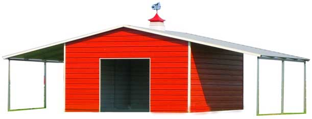 Rural Style Metal Building with Lean-to