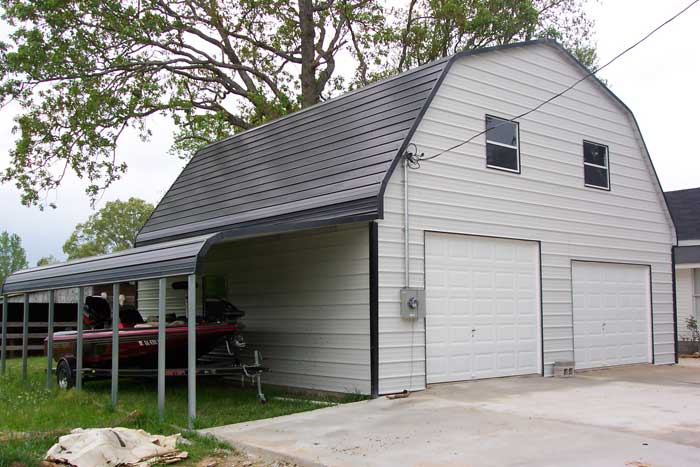Steel garage barn style for Metal garage pics