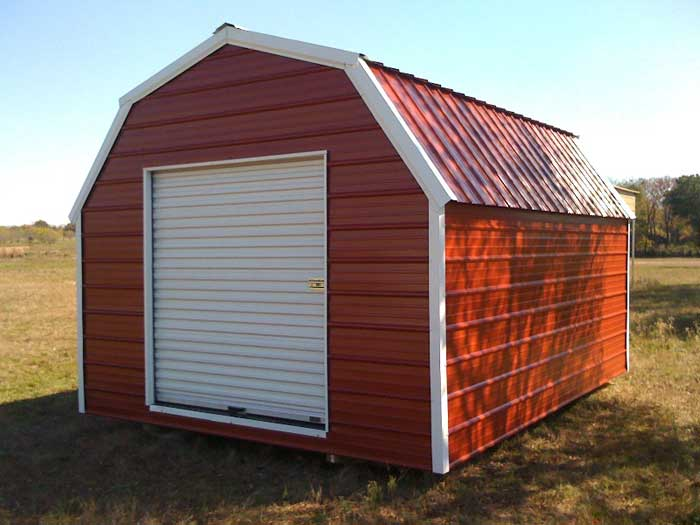 Portable gambrel style storage building for Gambrel roof metal building